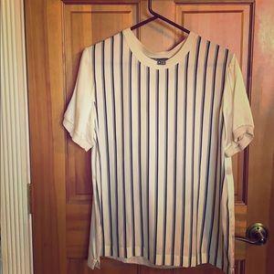 Super soft, striped front, silk blend blend top.